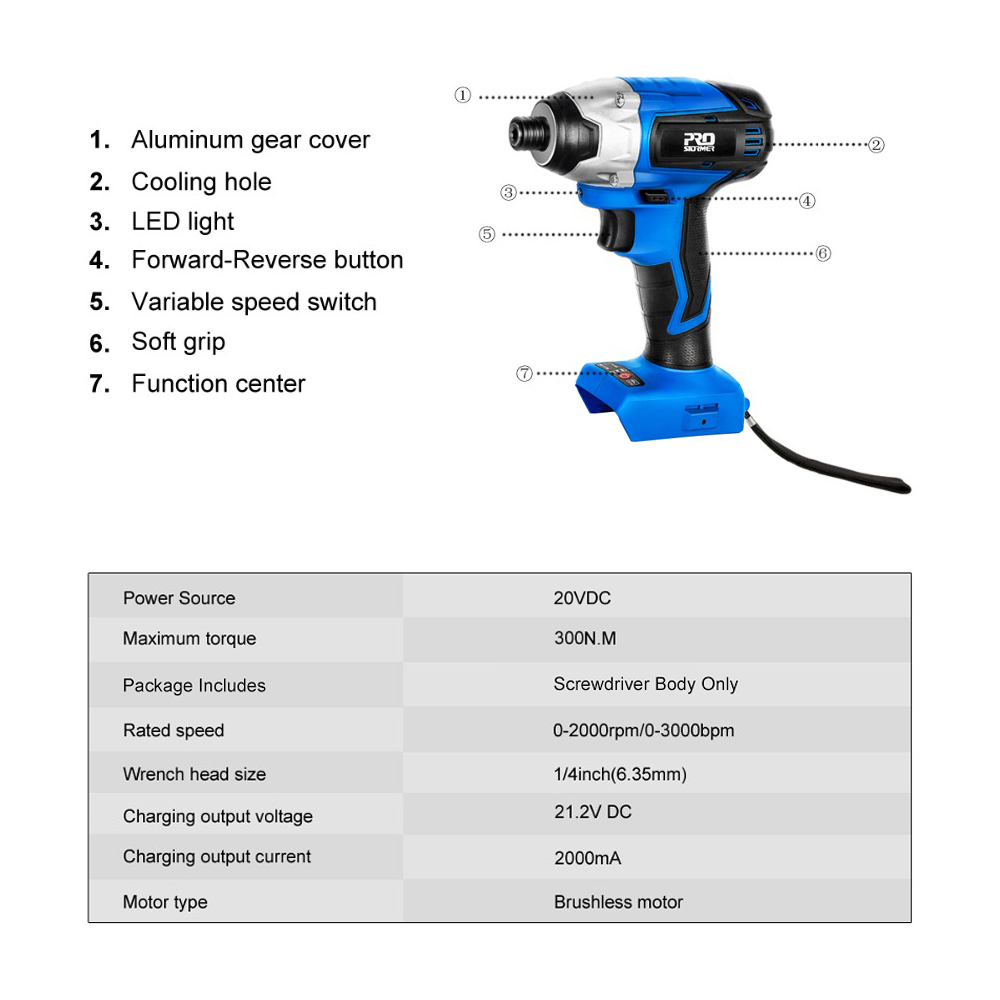 Body PROSTORMER 300Nm Tool Impact 20V Power Motor Function Brushless Only Electric Screwdriver By