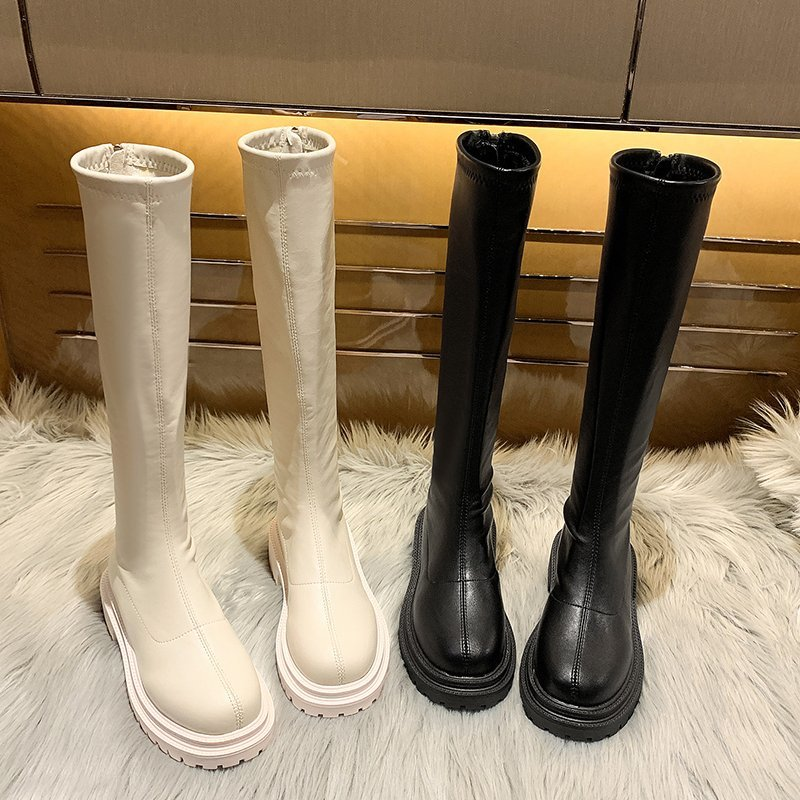 Winter Shoes Women Knee High Boots Platform Thigh High Boots Flat Woman Gothic Shoes Fashion Black Beige Round Toe Riding Boots