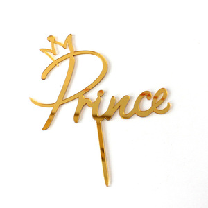 Acrylic Prince Princess Happy Birthday Cake Topper Gold Mirror King Queen Cupcake Topper For Birthday Party Cake Decorations(China)