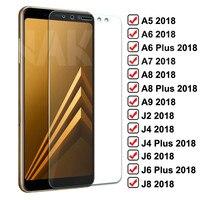 9H Schutz Glas Für Samsung Galaxy J4 J6 A6 A8 Plus 2018 Gehärtetem Screen Protector J2 J8 A5 A7 a9 2018 Sicherheit Glas Film