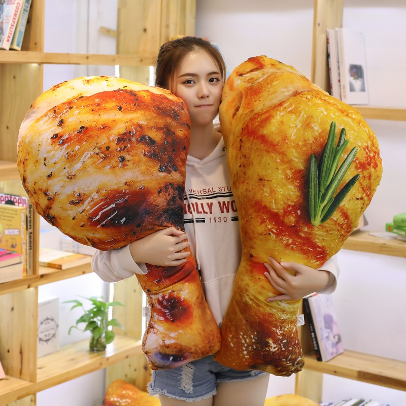 110CM Simulation Chicken Plush Toys Creative Real Life Food Pillow Fried chicken Stuffed Dolls for Children Kids Birthday Gifts