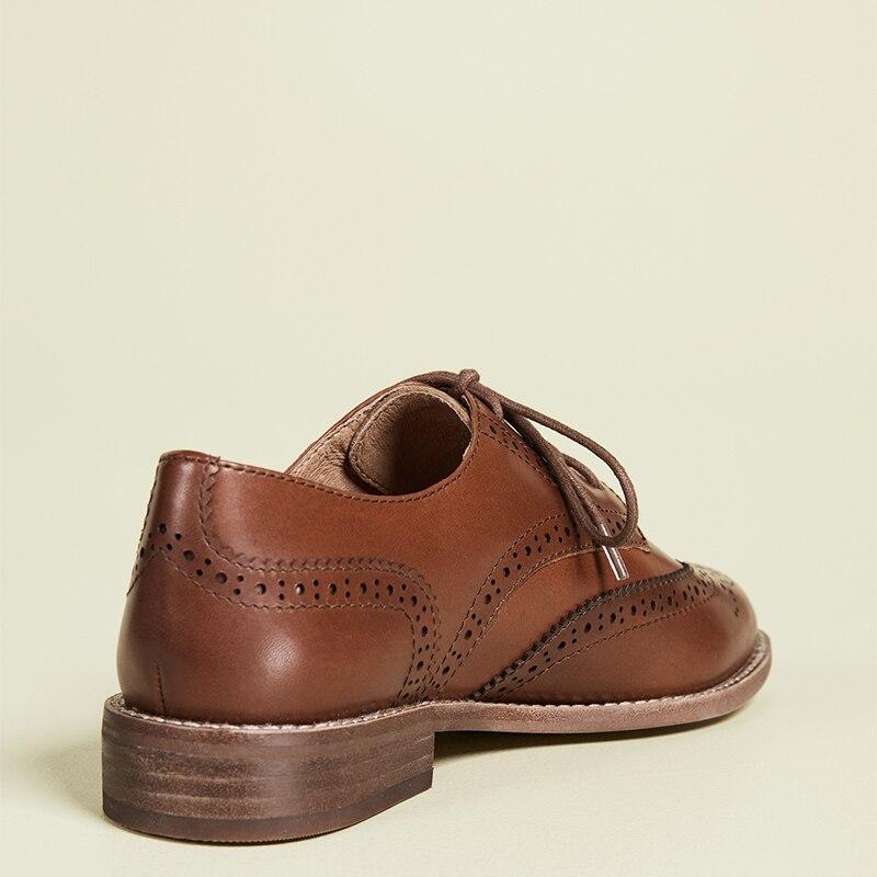Shofoo marrom escuro oco para fora rendas até oxfords mulher plana dedo do pé redondo sapatos femininos tamanho grande 13 15 senhoras outono moda escritório - 4