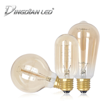 E27 Retro Tungsten Light Bulb Unique Classic Tungsten Lamp Retro Decoration Bulb Glass LED Bulb AC220-240V T40 G80 ST64 1700K стоимость
