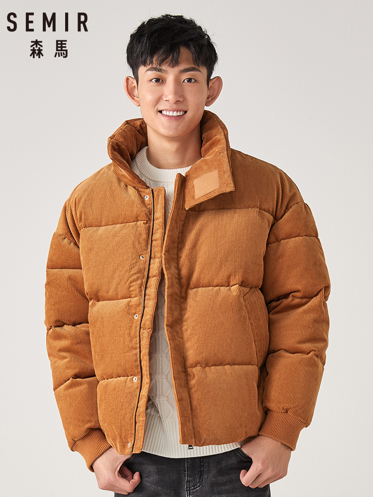 SEMIR Men 2019 Winter New Jacket Men Loose Stand Collar Short Retro Corduroy Thick Cotton Casual Jacket