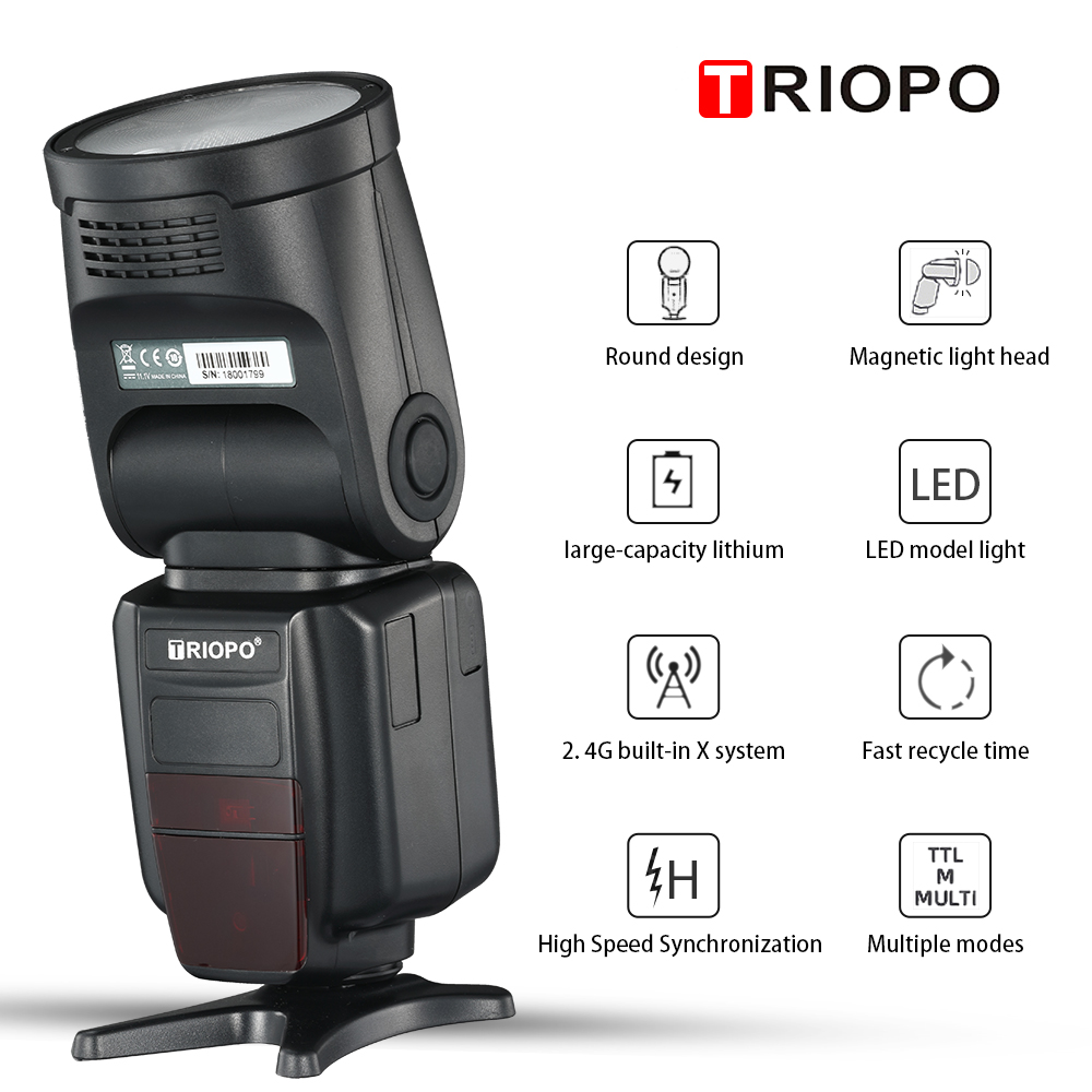 Image 3 - TRIOPO R1 Round Head on camera  Flash 2.4G X Wireless TTL HSS 76Ws Speedlight Flash with Li Battery for Canon Nikon(only falsh)Flashes   -