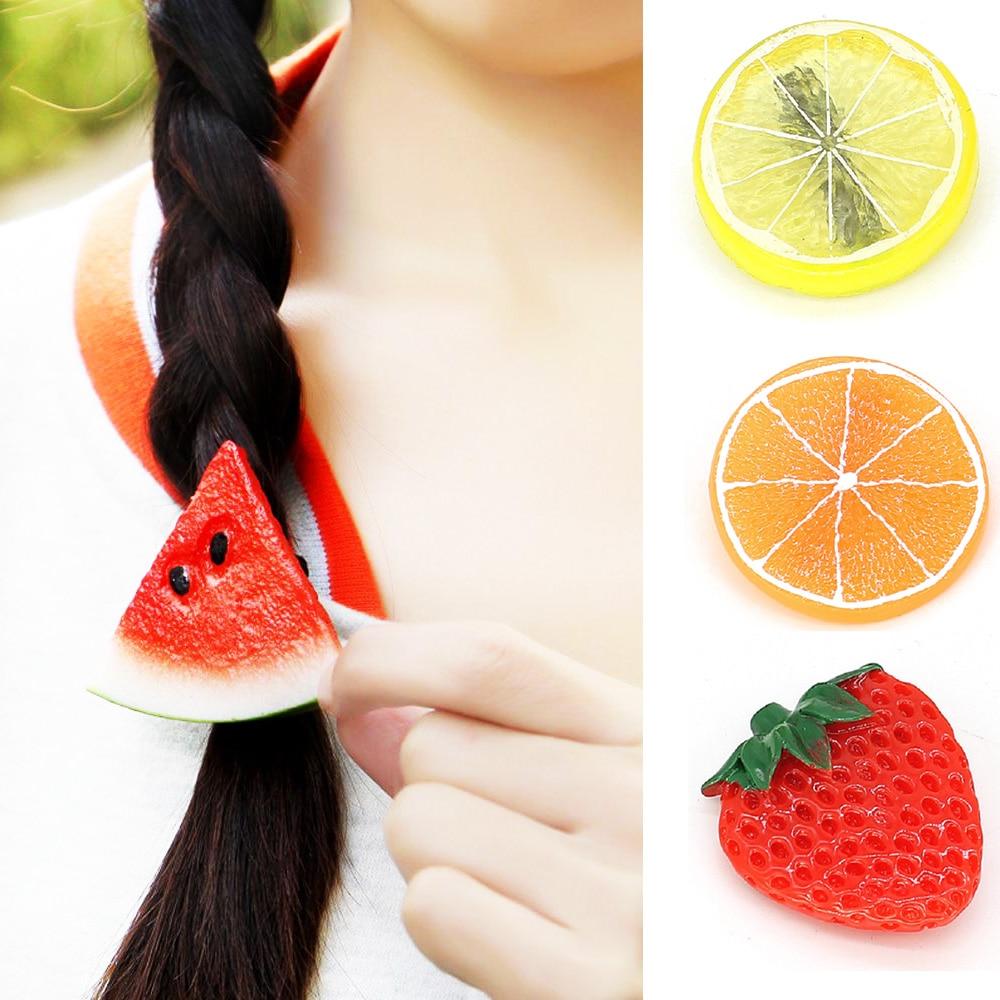 Summer Fruit Slice Hair Clips Girls Women Strawberry Egg Watermelon Lemon Orange Hairpins Hair Accessories