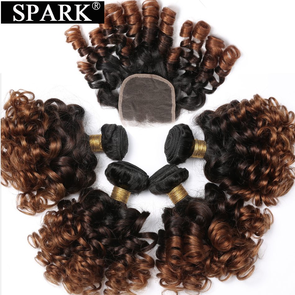 SPARK Brazilian Human Hair Ombre Loose Bouncy Curly Hair Human Hair Weave Bundles 3 Bundles With Fermeture Remy Hair Closure L
