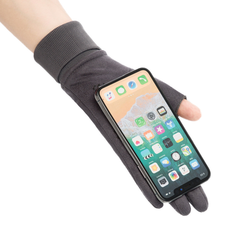 2019 Suede Leather Dew Two Fingers Mobile Phone Touchscreen Gloves Women Men Winter Outdoor Sport Anti-slip Warm Velvet Gloves