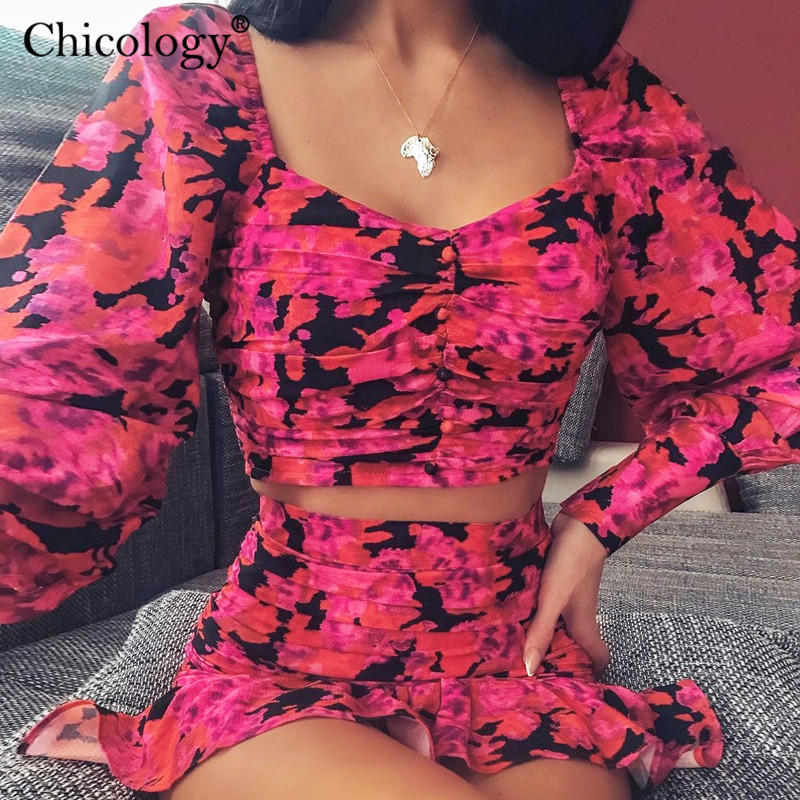 Chicology 2019 Elegant Floral Ruched 2 Two Piece Set Women Puff Long Sleeve Crop Top High Waist Mini Skirt Autumn Winter Clothes
