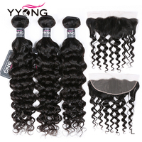 Yyong Brazilian Milan Wave 3 / 4 Bundles With Frontal Human Hair Weave Bundles 13x4 Lace Frontal With Bundles Remy Medium Ratio