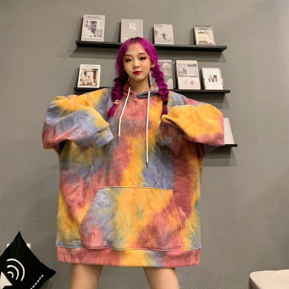 New Womens Print Hoodie Winter Long Sleeve Casual Sweatshirt Oversized Clothing Kawaii Korean Style Girls Hirajuku Hoody Tops