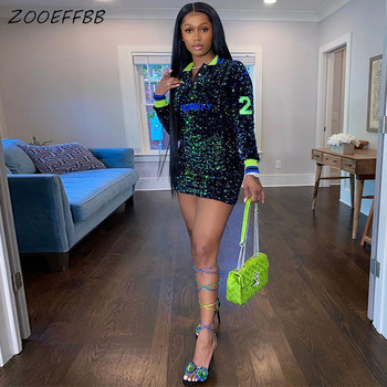ZOOEFFBB Plus Size Clothing Aesthetic Long Sleeve Mini Bodycon Dress Sexy Club Birthday Outfits for Women Trendy Lounge Wear 1