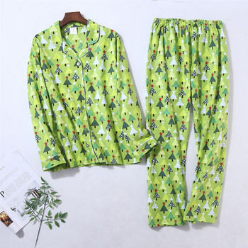 Women's Winter Pajamas Set 100%Cotton Sexy Warm Sleepwear Christmas Festival Clothing Homewear Big Size Green Top Soft Pijama - discount item  40% OFF Women's Sleep & Lounge