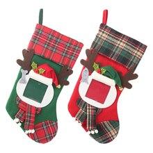 2019 Xmas Transparent Photo Frames Plaid Christmas Socks Childrens Gift Bag Decorations for home Candy Bags Stockings