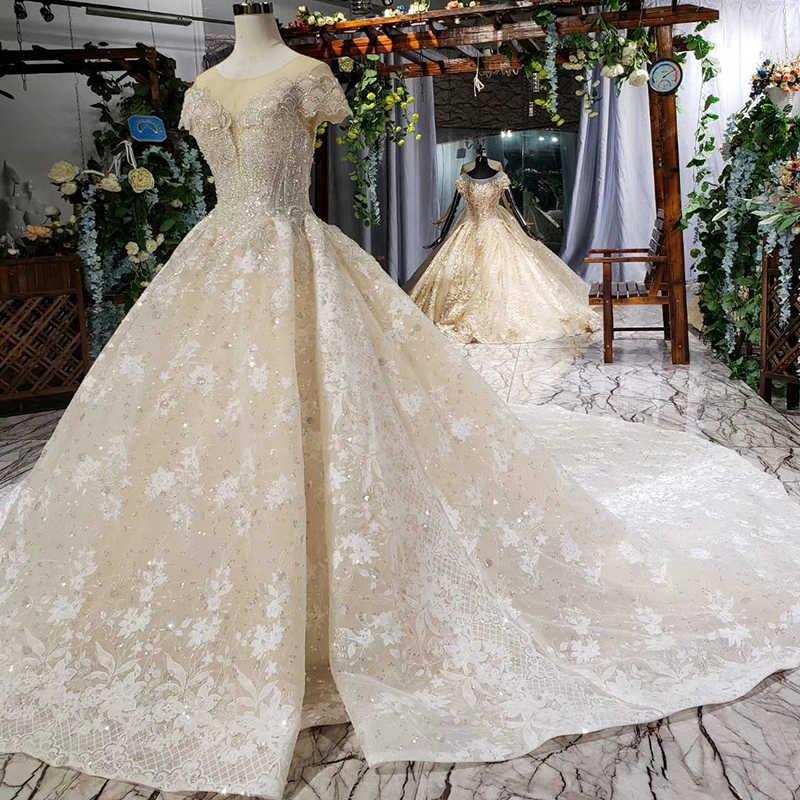 HTL667 יוקרה ערבית כדור שמלת חתונת שמלות קתדרלת רכבת כפתור אשליה ואגלי אפליקציות שמלות כלה vestido דה noiva
