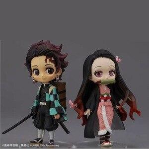 Image 3 - 7cm Anime figurka Demon Slayer: Kimetsu no Yaiba Kamado Tanjirou i Kamado Nezuko Q wersja PVC zabawki modele do kolekcjonowania