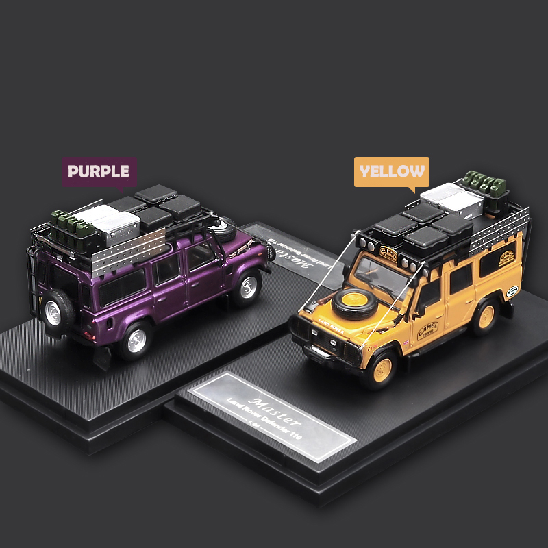Time Model 1/64 Camel Cup Theme Off-Road Defender 110 Metal Diecast Model with Roof Rack Parts 1:64 Model Car Vehicle SUV set