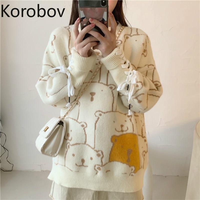Korobov Autumn Winter New Cartoon Pattern Sweaters Korean Long Sleeve Bandage Bow Pullovers Japanese O-Neck Sueter Mujer 79288