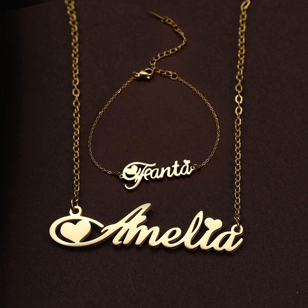 Presente de aniversário personalizado da namorada da placa de identificação colar de nome personalizado para mulheres