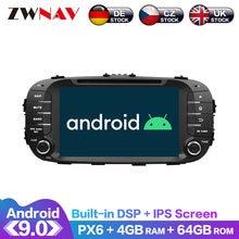Radio Multimedia con GPS para coche, Radio con reproductor, Android 9,0, pantalla IPS, PX6, DSP, SIN DVD, unidad principal, Audio estéreo