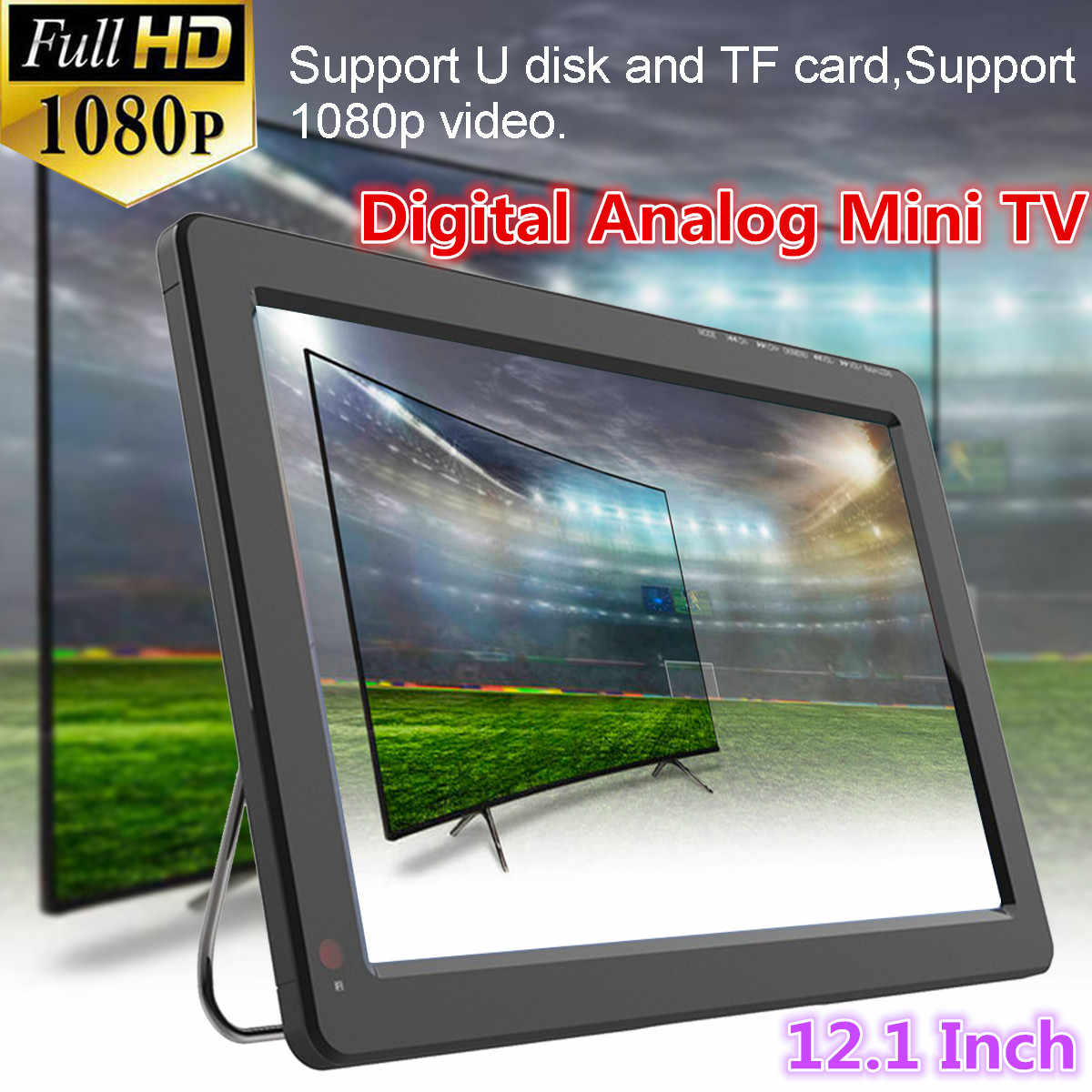 12V 18W 12.1 Inch Portable Analog Digital Mini TV Dvb-t/DVB-T2 TFT LED 1080P HD Mobil TV Mendukung TF Kartu USB Audio Uni Eropa Plug