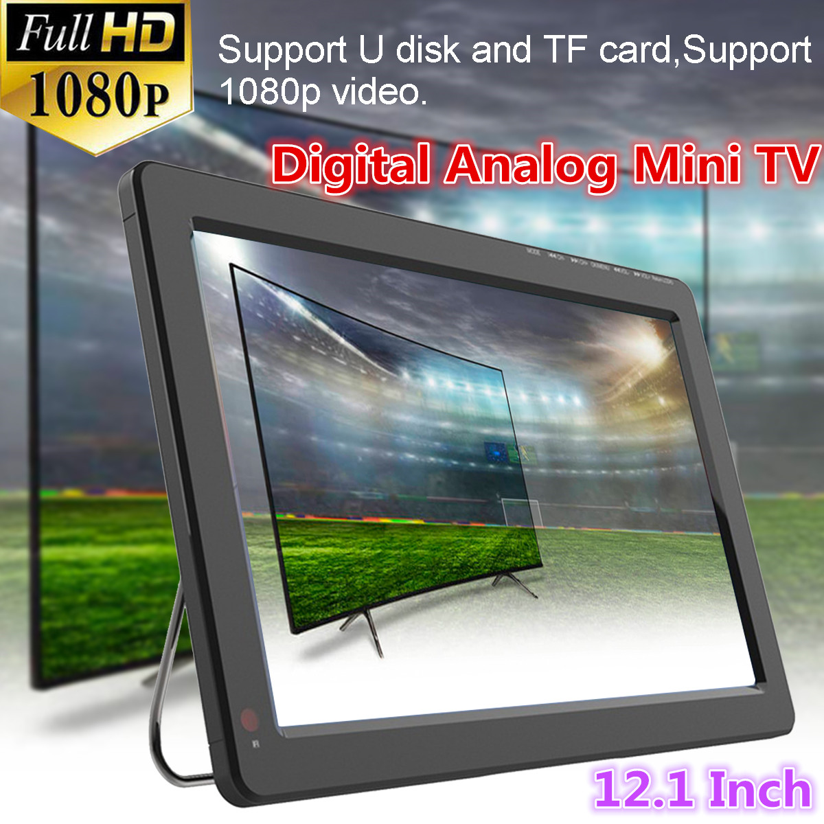 12V 18W 12.1 Inch Portable Digital Analog Mini TV DVB-T / DVB-T2 TFT LED 1080P HD Car TV Support TF Card USB Audio Eu Plug