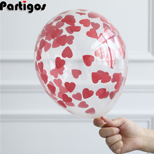 5pcs Valentines Day Latex Balloons With Red Heart Confetti Air Globos Birthday Party Balloon Valentines Day Party Supplies woodgrain heart pattern valentines day door stickers