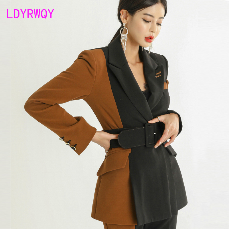 2019 autumn Korean version of commuter fashion color matching suit jacket + high waist slimming temperament trousers two sets