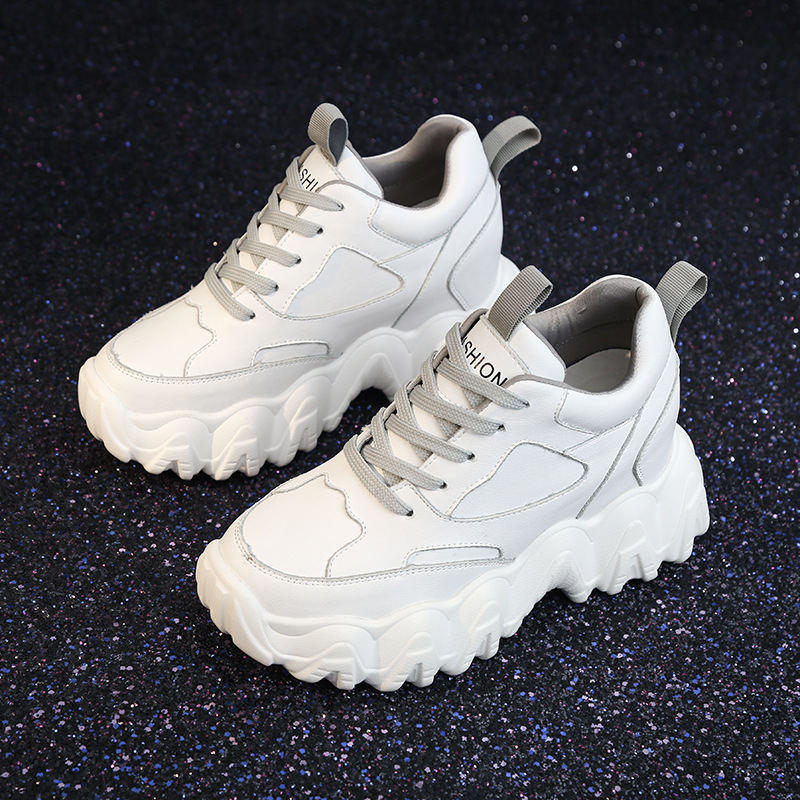 Yiluan Women Shoes Leather 2020 Sneakers Vulcanize Shoes Platform Trainers Casual Shoes Woman Brand Increased 8cm Single Shoes