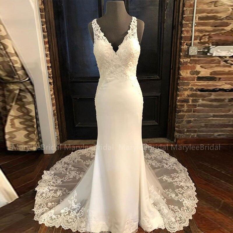 Vestidos De Noiva V-neck Sleeveless Wedding Dress Made To Measure Appliques Hollow Back Mermaid Bridal Dresses Chapel Train