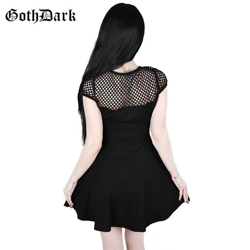 Goth Dark Black Grunge Gothic Dresses Women Harajuku Hollow Out Mesh Pleated Vintage Mini Dress Autumn 2019  Aesthetic Fashion 1