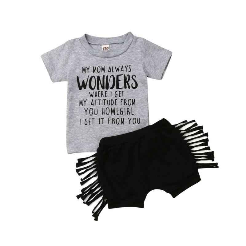 2020 Newborn Set Baby Girl Clothing Short Sleeve Letter T Shirt Tops Tassel Short Pants Kids Summer Clothes 2Pcs Outfits