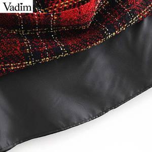 Image 5 - Vadim elegante para mujer tweed patchwork plaid mini falda trasera con cremallera bolsillos decorar ropa de oficina faldas con estilo femenino BA860