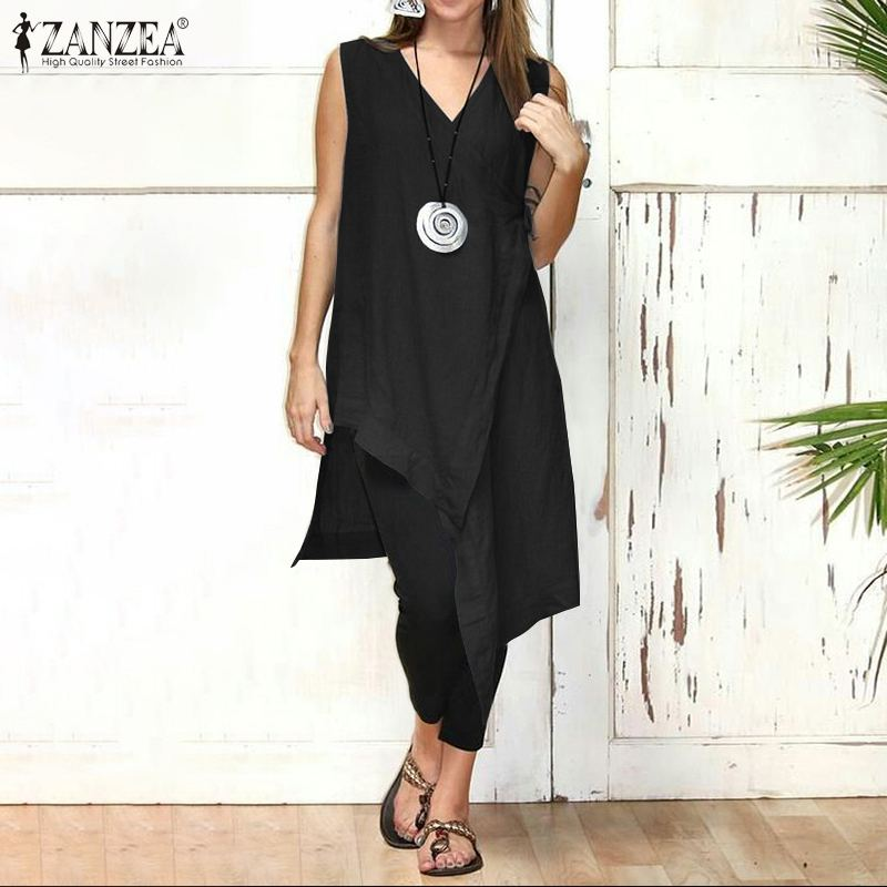 ZANZEA Vintage Blouse Top Fashion 2020 Summer Women Tops Casual Sleeveless Asymmetrical V Neck Shirts Solid Plus Size shirt|Blouses & Shirts|   - AliExpress