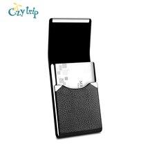 Professional PU Leather Business Card Holder Slim Metal Credit Card Case Name Card Pocket Holder with Magnetic Shut
