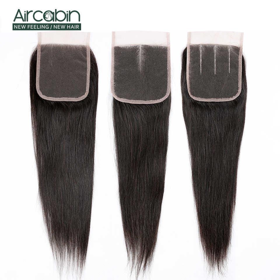 Прямые волосы Aircabin, пряди с закрытием, бразильские человеческие волосы Remy, волнистые, натуральный цвет, пучок, средний коричневый, швейцарское кружево