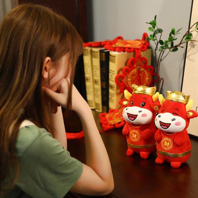 1 PC 22cm 2021 Year Chinese Zodiac Ox Cattle Plush Toys Cute Red Milk Cow Mascot Plush Doll Stuffed For Children Kids Gift-0