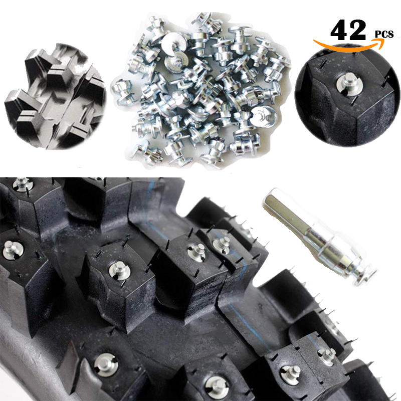 42pcs Tyre Spikes for Shoes Boots Gripping Spikes for fatbike  Moutain Vehicel studs screw in Tire Stud Tungsten Tipped Fishing
