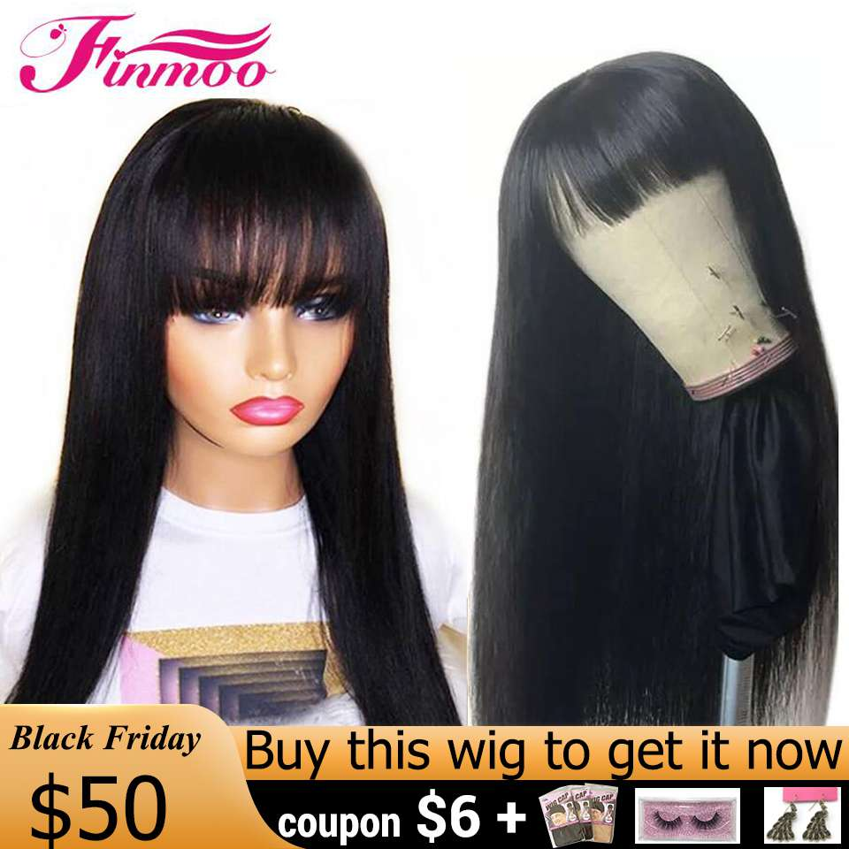 360 Lace Frontal Wig With Bang For Black Women Brazilian Straight Wigs With Bang Remy Lace Frontal Wig PrePlucked With Baby Hair