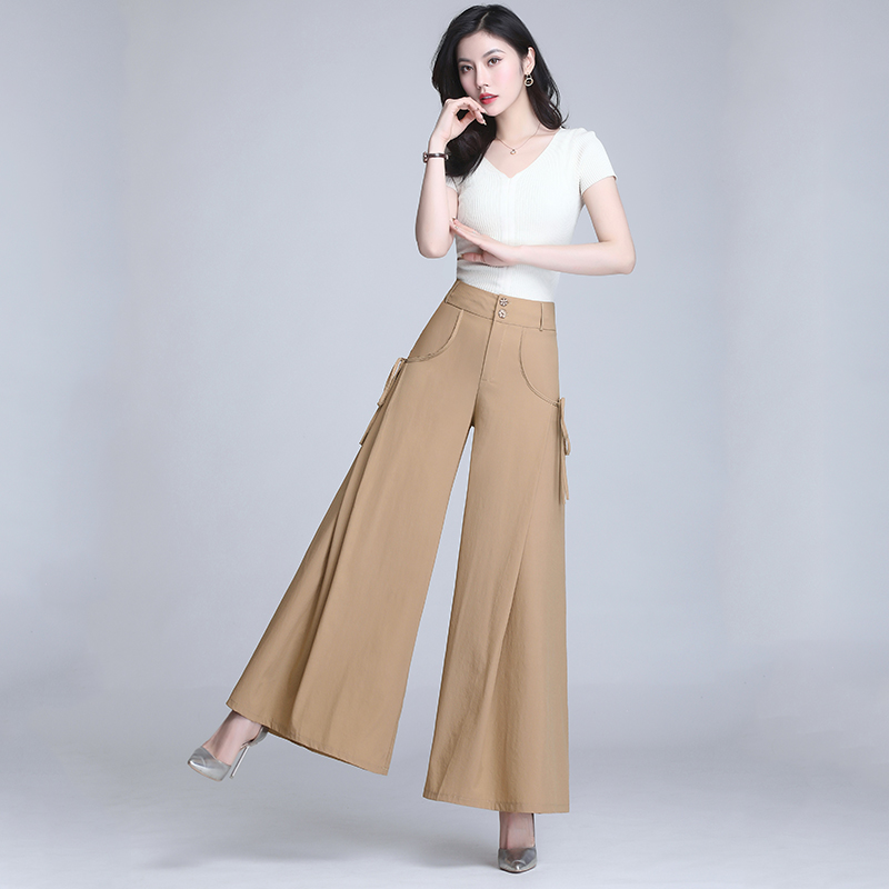 New Plus size Summer High Waist Pocket Pants Women Pants solid Loose wide leg pants Female Casual Skirt Trousers Capris Culottes