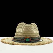 2020 New Panama Hats Womens Summer Raffia Sun Hat Male Female Khaki Straw Emerald Decorate Fashion Men Jazz Hat(China)