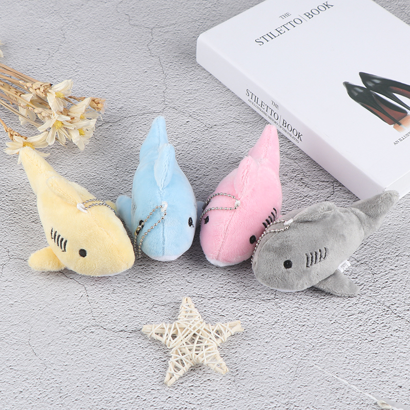 12CM Soft Cute Simulation Shark <font><b>Plush</b></font> <font><b>Key</b></font> <font><b>Chain</b></font> Pendant <font><b>Toys</b></font> Cartoon Whale Stuffed Doll Backpack Keychain Bag Pendant Kids Gifts image