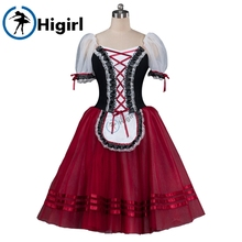 girls burgundy giselle ballet tutu dresses brown ballerina dress kids pink Romantic dressBT8904E