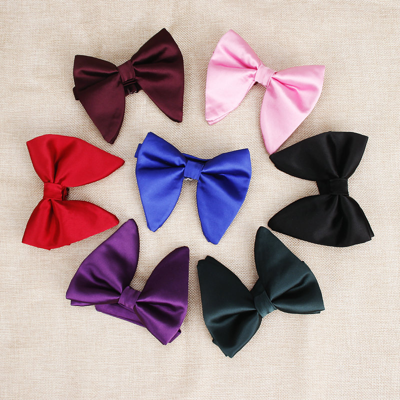 2019 Hot Sale Men's Fashion Big Suits Red Navy Bow Ties For Man Wedding Designer Solid Woven Bowknot Butterfly Tie 9colors