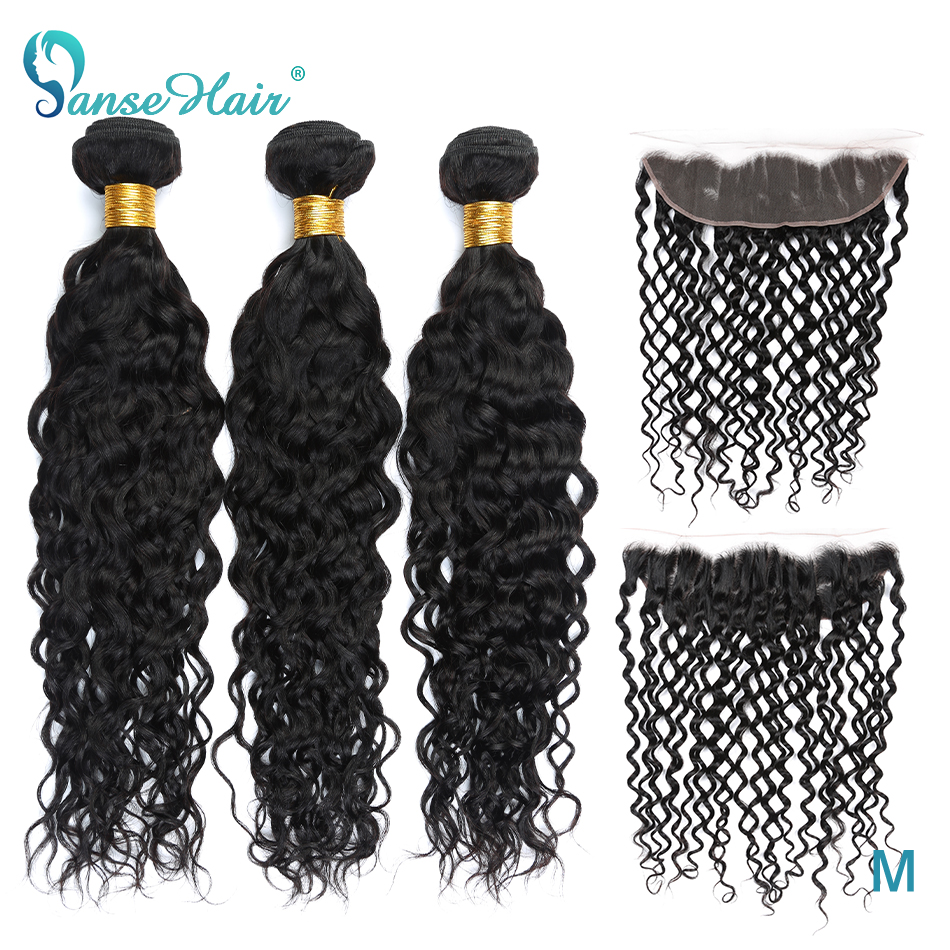 Panse Hair Brazilian Water Wave Hair 3 Bundles With A 13*4 Lace Frontal Non-Remy Hair 100% Human Hair Extensions Can Be Dyed