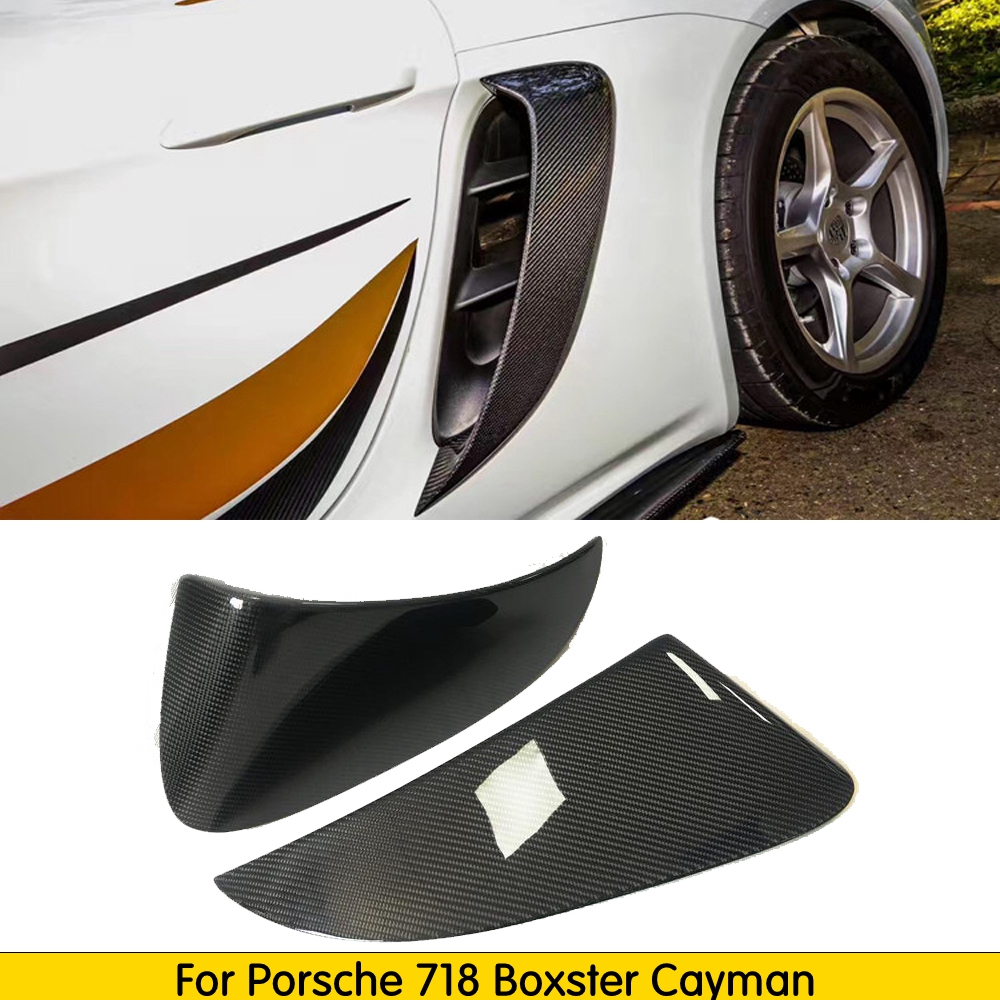Real Carbon Fiber Side Vents Side Air Intakes Vents Fit For Porsche <font><b>718</b></font> <font><b>Boxster</b></font> Cayman 2016-2018 image
