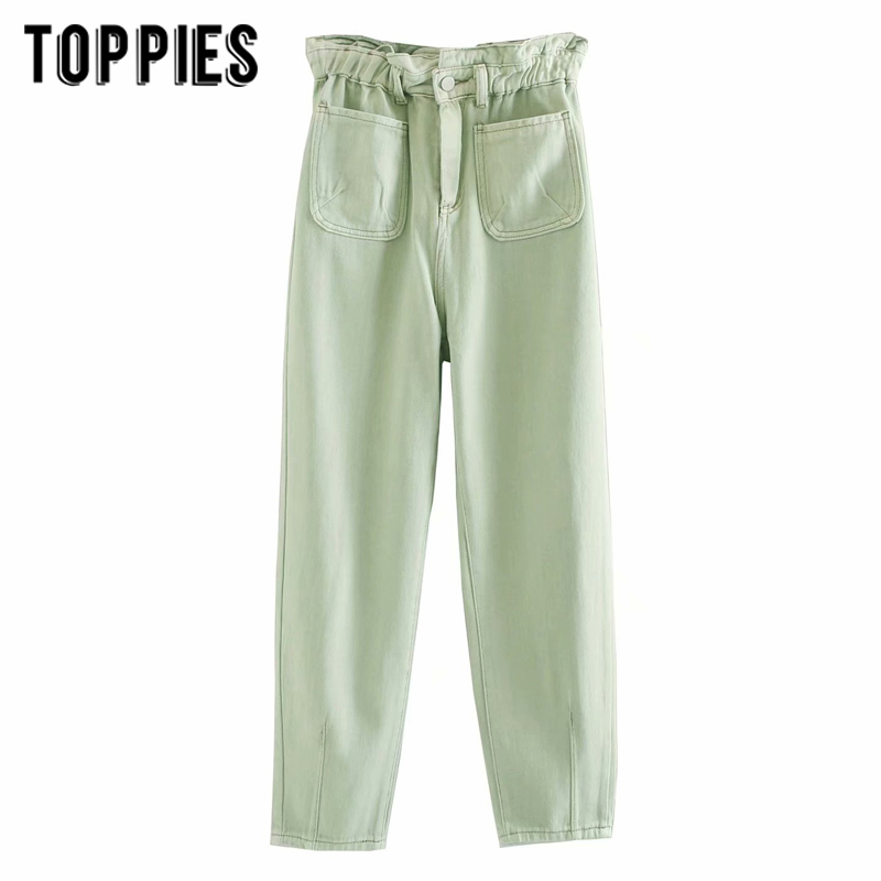 2020 White Green Jeans Denim Paperbage Pants Front Pockets High Waist Jeans Ankle Lenght Streetwear