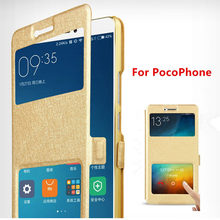 For Xiaomi PocoPhone F1 F 1 PC + Silk Leather Flip Book Case On For Xiaomi Poco Phone F1 F 1 Stand Holder Folding Cover Cases(China)