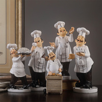 Nordic Chef Character Sculpture Chef Wine Rack Resin Figurines Coffee Shop Restaurant Home Decoration Accessories Modern Gifts