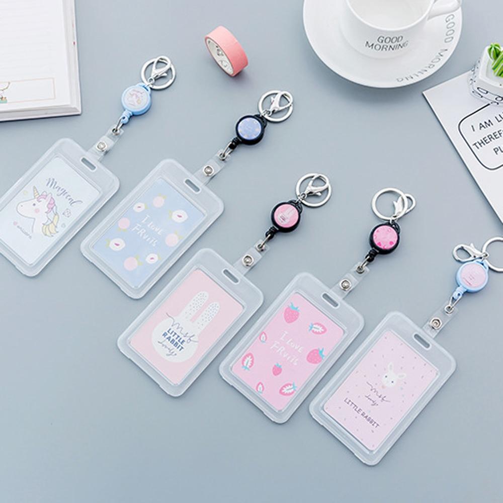 1Pcs Cute Transparent Plastic Cartoon Card Set Unicorn Telescopic Card Set Key Chain Elastic Rope Bus Card Rice Card Holder
